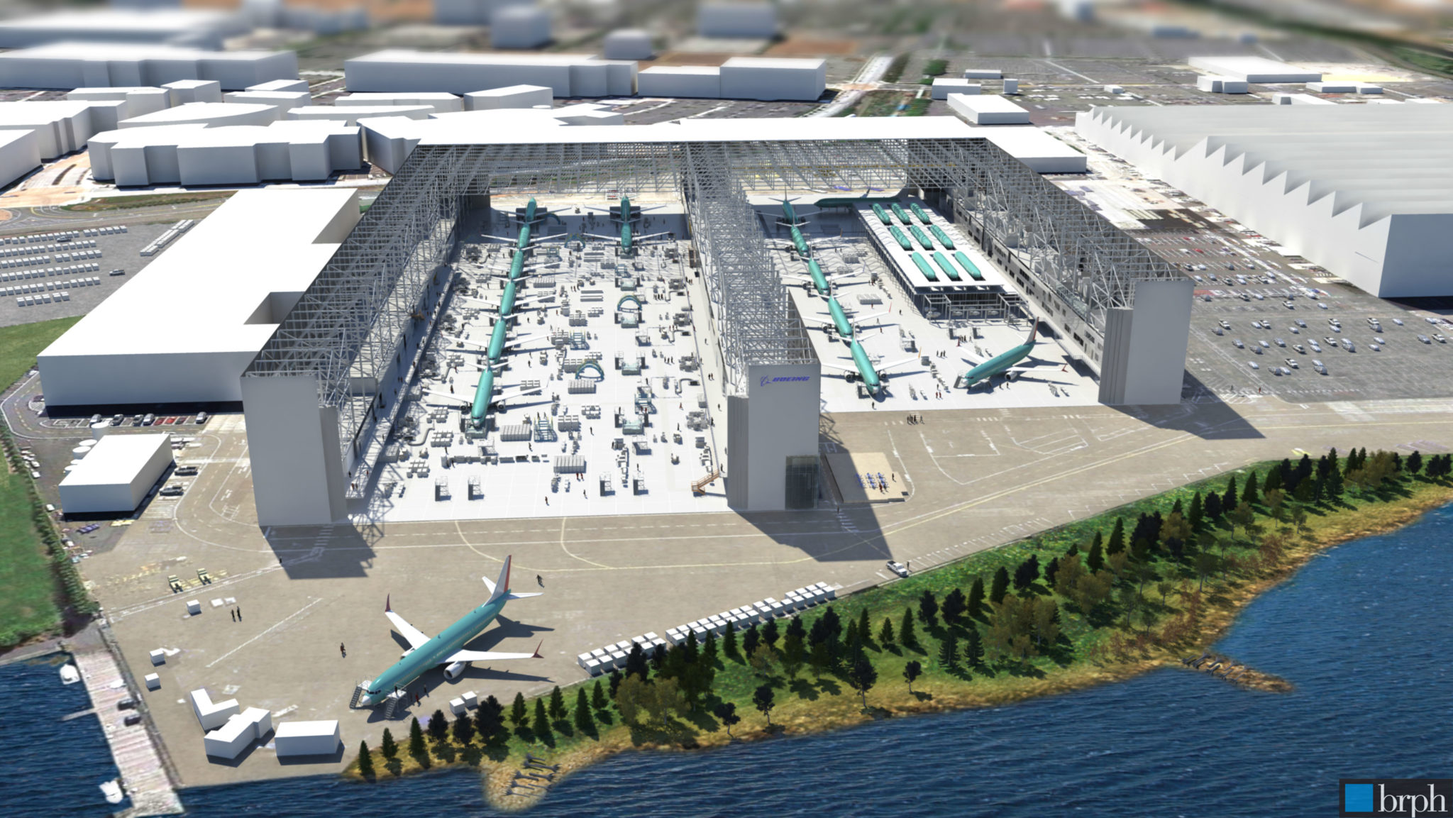 In this artist rendering by Boeing, the new third assembly line, for the 737 MAX, is seen in the center between the East and West lines.