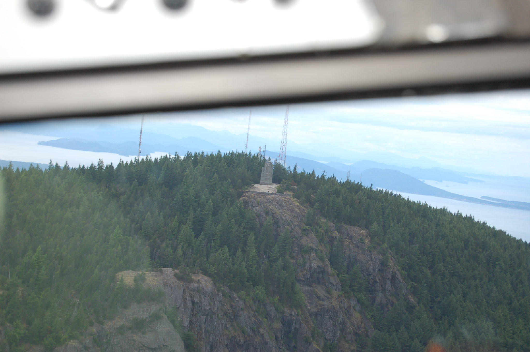 Mt. Constitution, Orcas Island, San Juan Islands chain, Washington State. Photo taken from Historic Flight Foundation DC-3 by Gail Twelves.