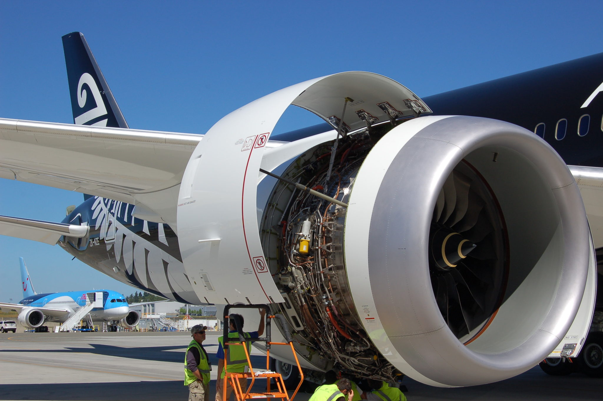 The Air New Zealand is powered by the Rolls-Royce Trent 1000 engine.
