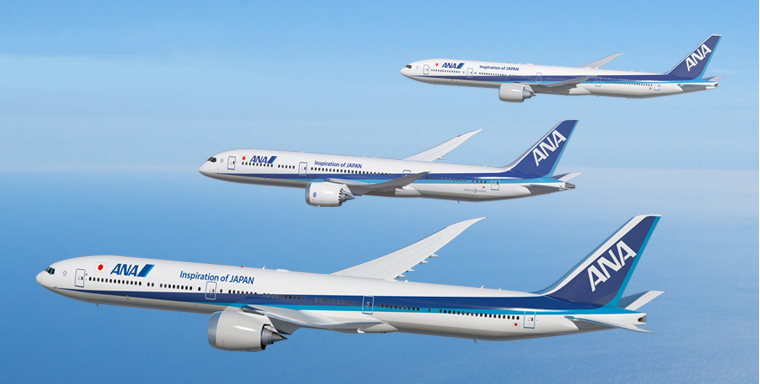 777-9X, 787-9 and 777-300ER in ANA colours