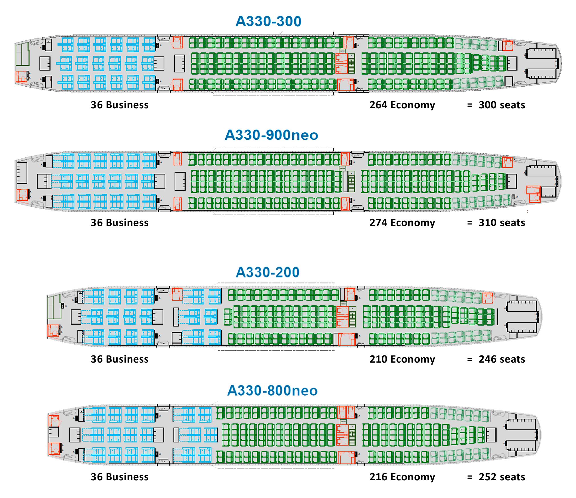 Аэробус 330-300 схема мест