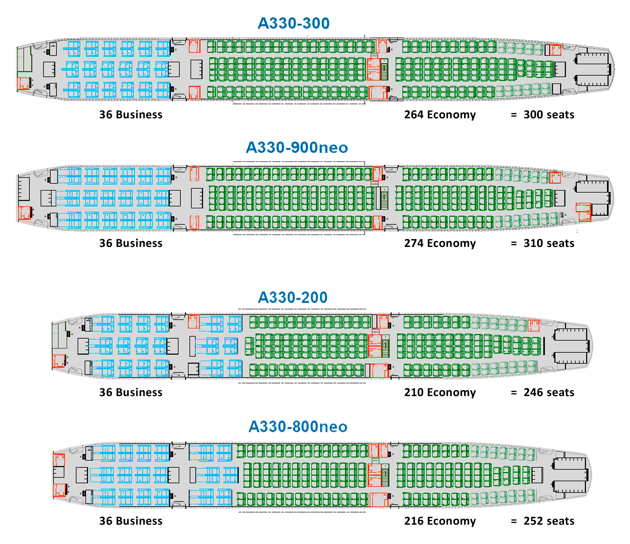 Airbus A330 and A330neo cabin layouts