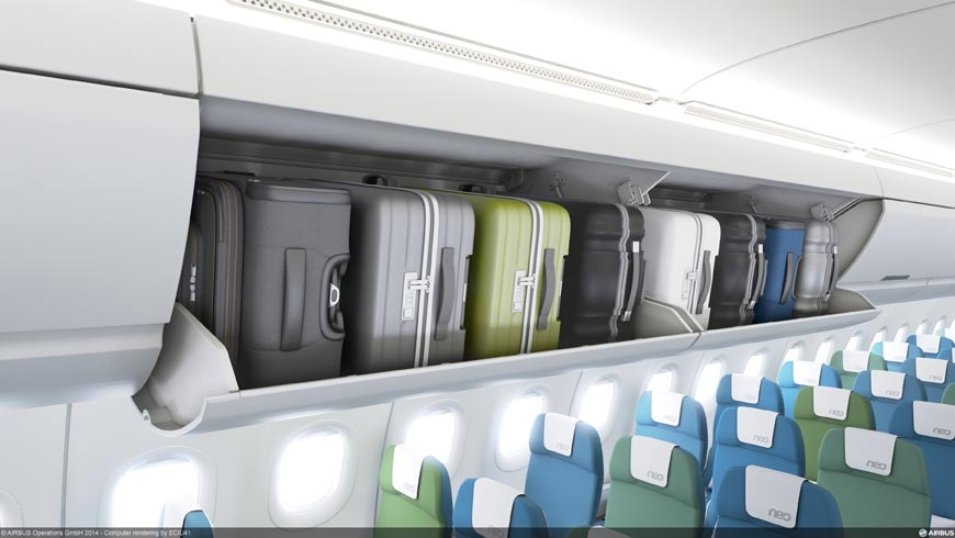 New pivot bins will be installed on the Airbus A320 Family beginning in 1Q2016. Delta Air Lines will be the first customer in the A321ceo. Airbus photo.