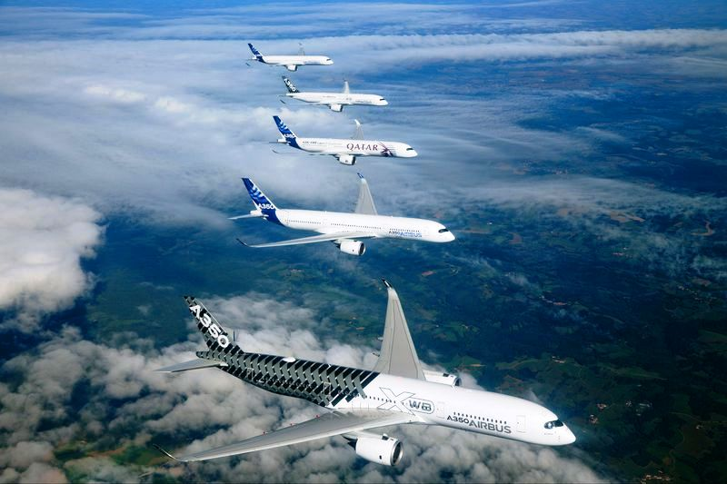 Airbus photo of A350 test aircraft in formation, celebrating the certification.