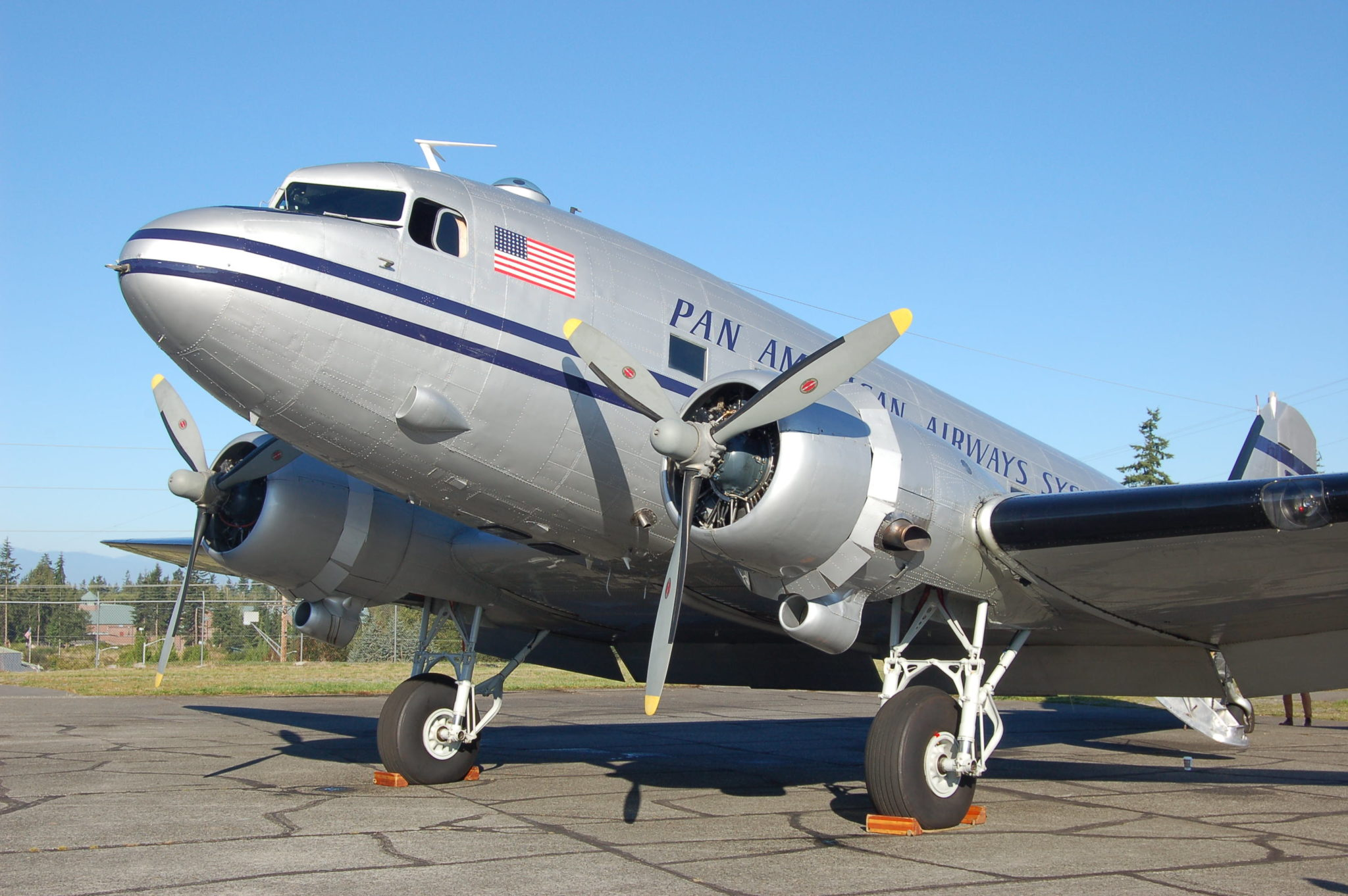 This Douglas DC-3 began life as a C-47 in 1944. It was delivered by Peter Goutier to China National Aviation Corp. in August 1944 in India. Thereafter it flew the Hump during WW II. The airplane was acquired in 2006 by the Historic Flight Foundation and is airworthy, making rounds to air shows and giving rides. Photo by Scott Hamilton