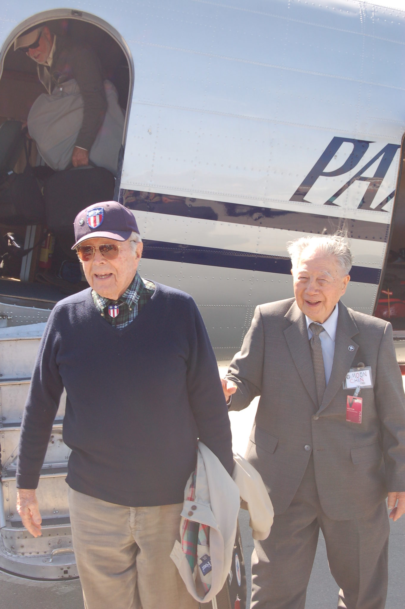 Peter Goutiere and Moon Chin are the two living pilots from CNAC from World War II. Chin set a record for the number of people carried on a C-47/DC-3: 71. Among them was Col. Jimmy Doolittle, escaping China after his famous raid on Tokyo in April 1942. Photo by Scott Hamilton