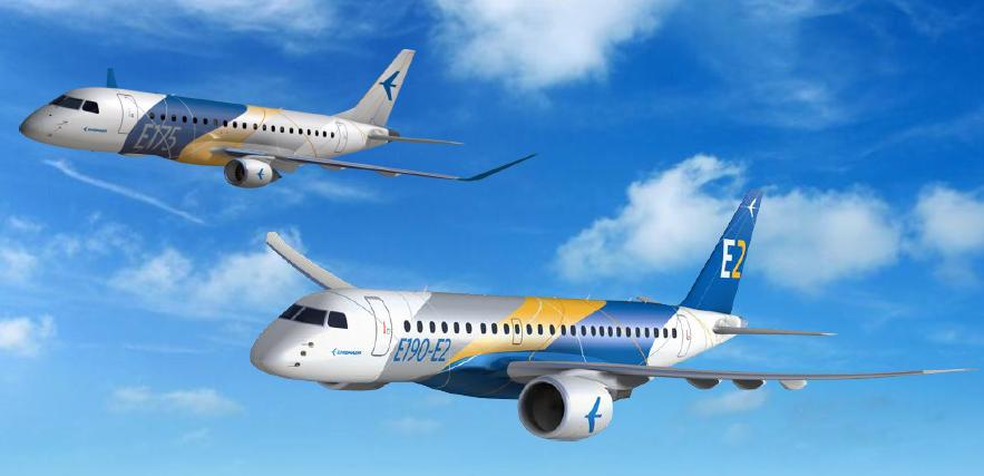 Embraer's E-Jet E2 is scheduled to enter service with the E-195 E2 in 2018. The E-190 E2 and E-175 E2 follow at one year intervals. Embraer rendering.