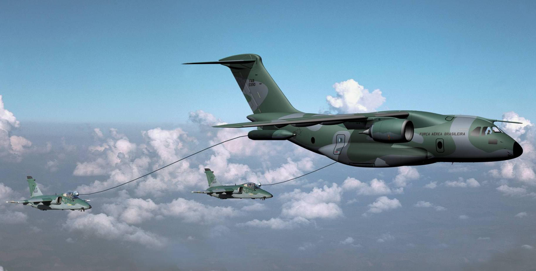 Rendering of KC390 tanking two Embraer AMX fighters. Source: Embraer