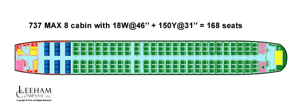 NAS 738 LOPA 18+150= 168 seats