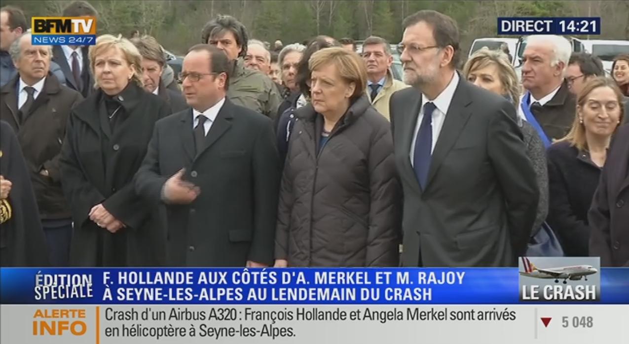Holland, Merkel and Rajoy at Seyne