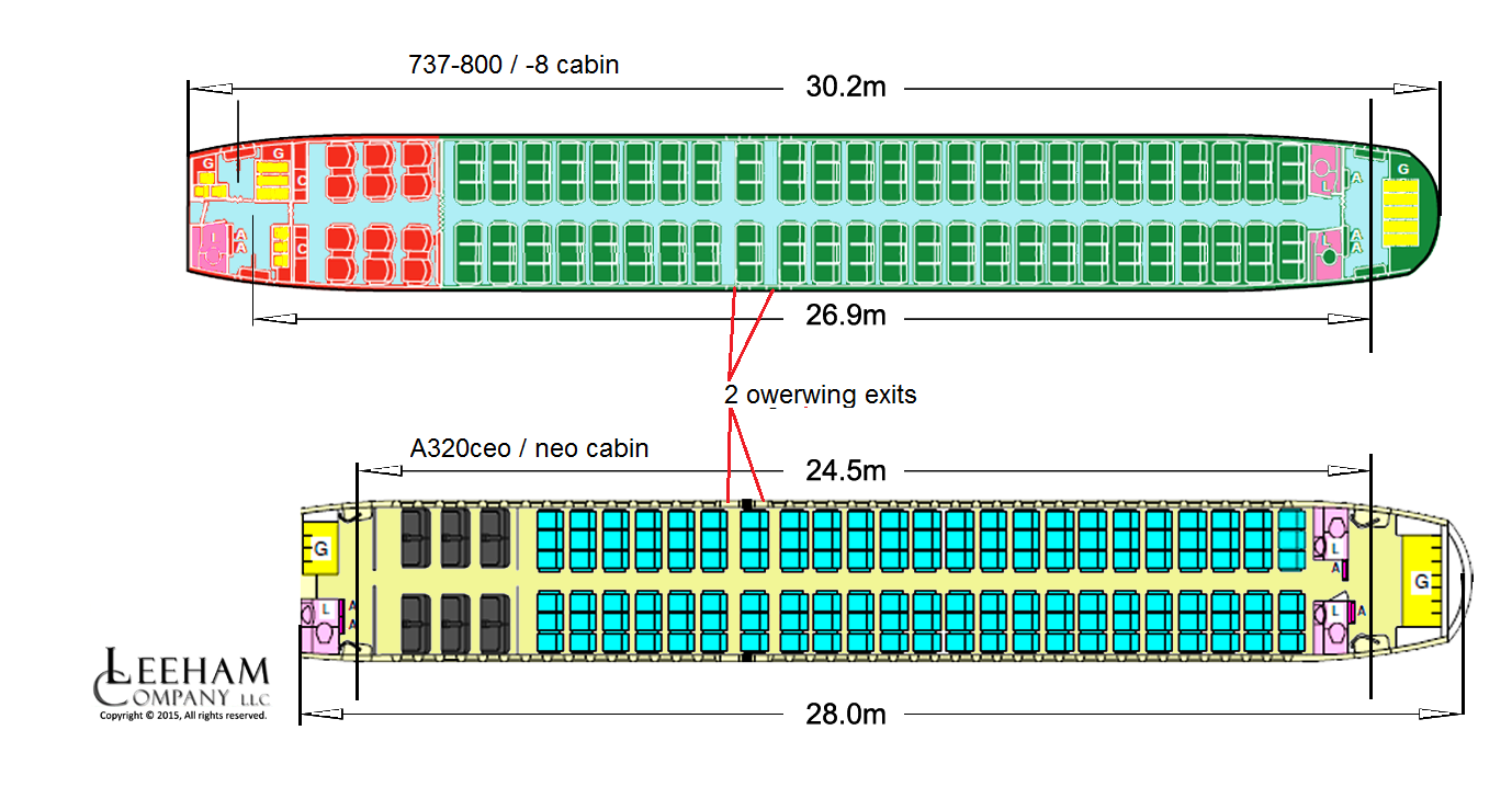 737-800 and A230 cabins