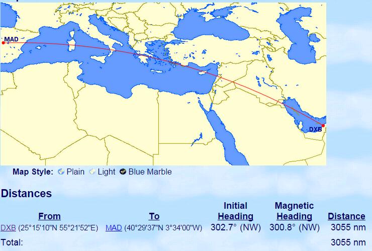 Dubai-Madrid flight