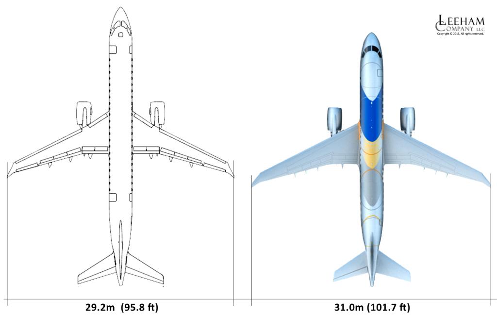 MRJ vs E2 175 planform upd