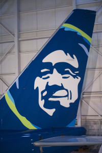 An Alaska Airlines 737-800, newly painted in the airline's 2016 refreshed brand, is ready to be revealed at the airline's maintenance hangar in SeaTac, Washington on Jan. 25, 2016. This month, Alaska Airlines revealed the most substantial updates to its brand in a quarter century. Beginning Jan. 25, Alaska fliers will see the visual updates in new signage at the airport, an all-new airplane paint job, a refreshed website and mobile app, and more.