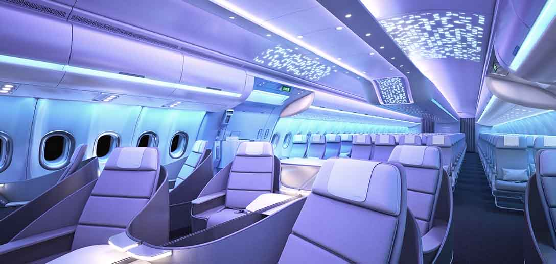 Airbus reveal airspace interior for a330neo ahead of for Interieur qatar airways